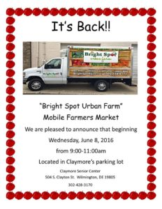 Bright Spot Urban Farm Mobile @ Claymore Senior Center | Wilmington | Delaware | United States
