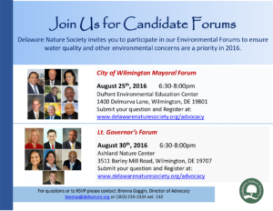 Environmental Forum with the Candidates @ DuPont Environmental Education Center